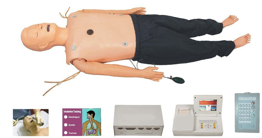 高级多功能急救训练模拟人(心肺复苏CPR、气管插管、除颤起搏四合一功能、嵌入式系统)